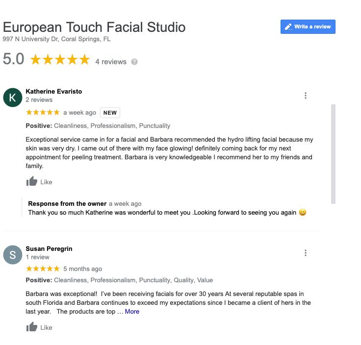 European Touch Facial Studio Reviews